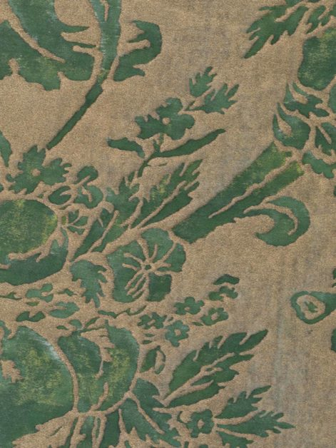5393 OLIMPIA in green & silvery gold Fortuny Printed Cottons
