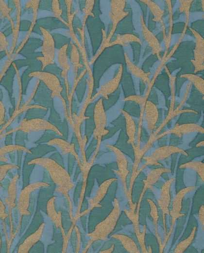 5652 ORFEO in blue-green monotones with gold Fortuny Printed Cottons