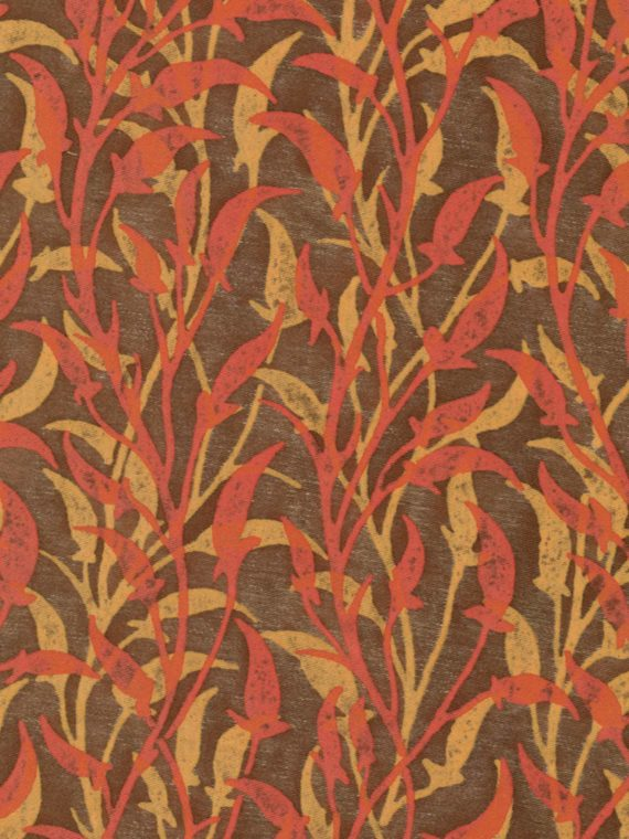 5654 ORFEO in coral & peach on brown Fortuny Printed Cottons