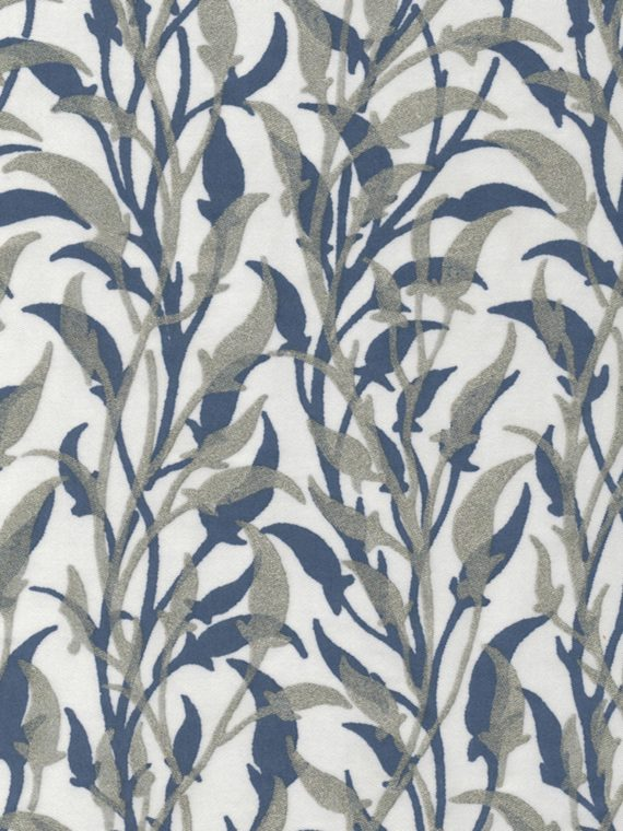 5655 ORFEO in silver & midnight blue on white Fortuny Printed Cottons