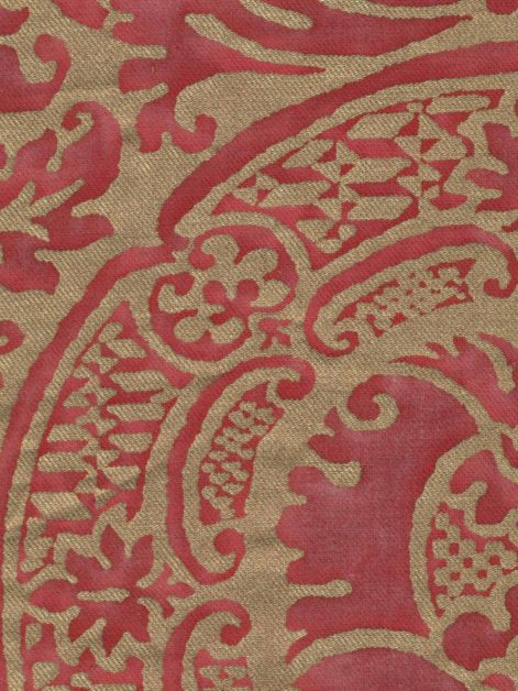 5187 ORSINI in red & gold texture Fortuny Printed Cottons