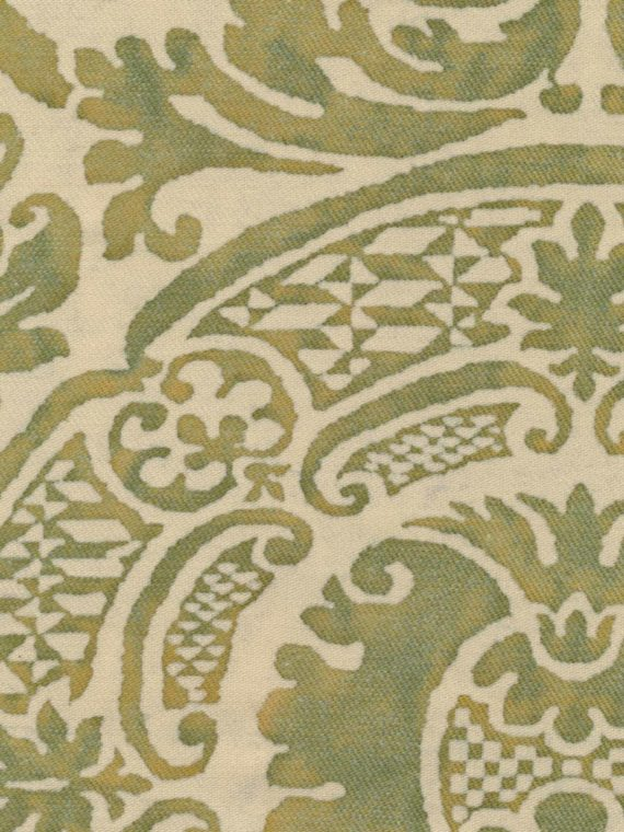 5307 ORSINI in bayou green on parchment texture Fortuny Printed Cottons