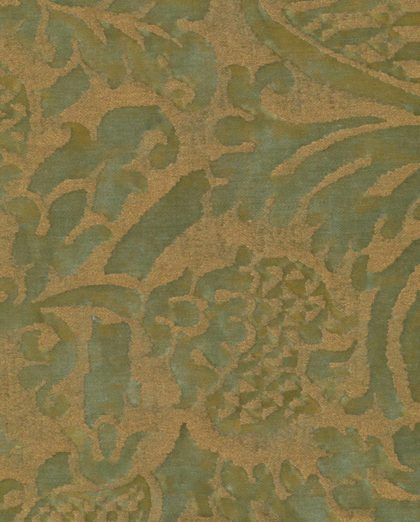 5376 ORSINI in bayou green & gold Fortuny Printed Cottons