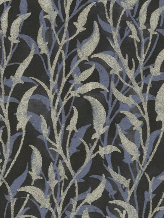5653 ORFEO in silver & midnight blue on black Fortuny Printed Cottons
