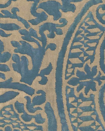 5190 ORSINI in blue-green & silvery gold Fortuny Printed Cottons