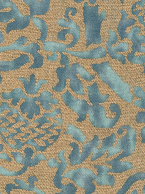 5564 ORSINI in blue-green & silvery gold texture Fortuny Printed Cottons