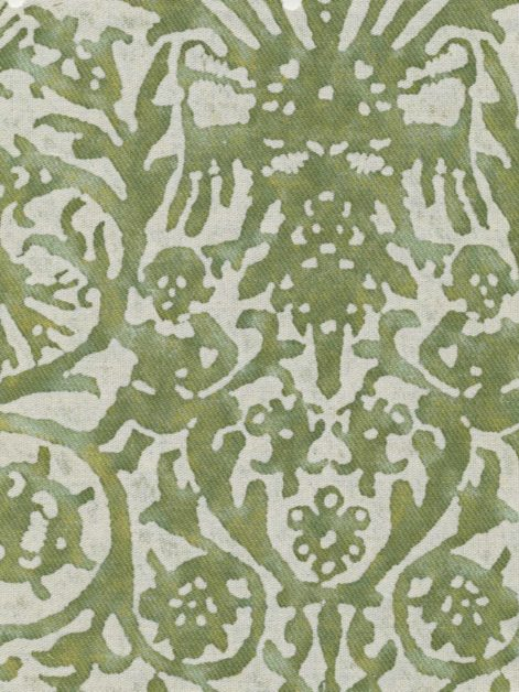 5458 PERGOLESI in green & antique white texture Fortuny Printed Cottons