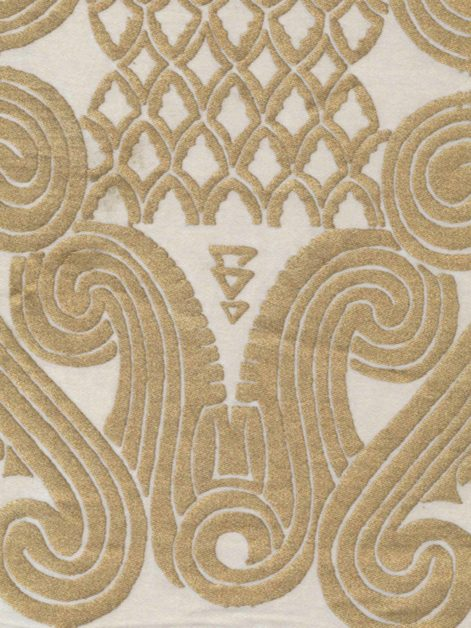 5243 PERUVIANO in white & silvery gold Fortuny Printed Cottons
