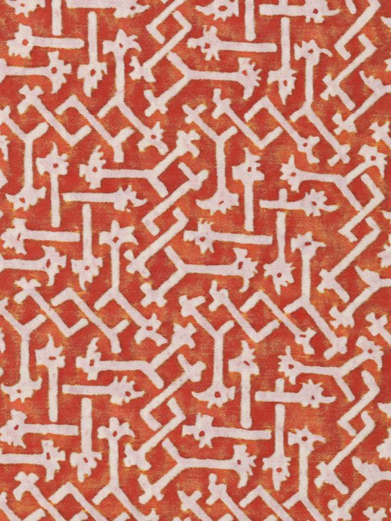 5547 RABAT in bittersweet & pale grey Fortuny Printed Cottons