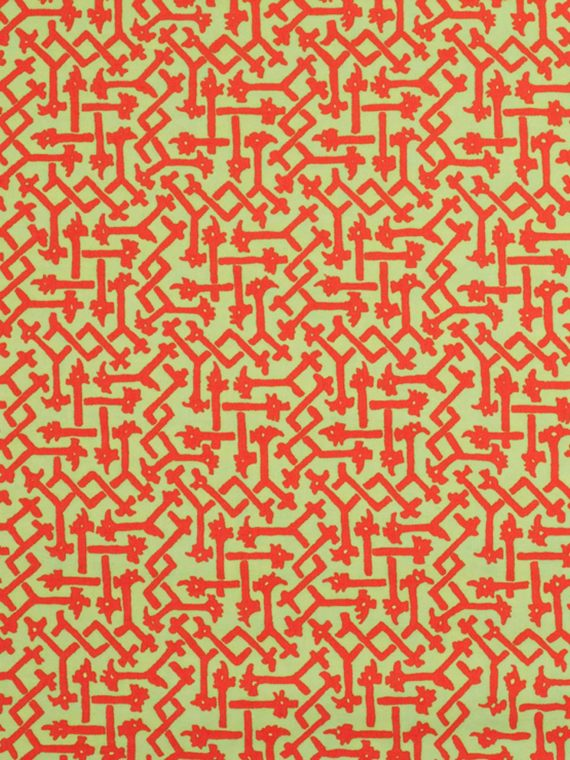 5686 RABAT in lime green & red Fortuny Printed Cottons