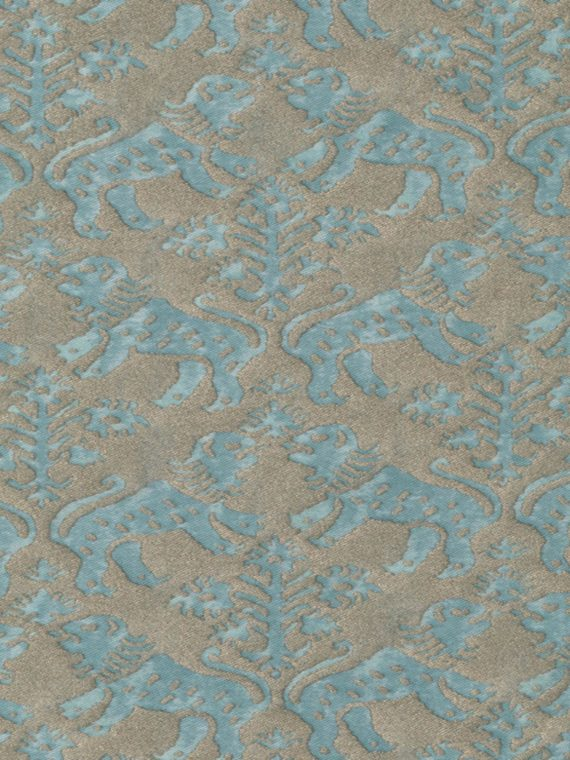 5416 RICHELIEU in aquamarine & silvery gold Fortuny Printed Cottons