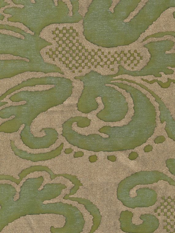 5377 SEVIGNE in bayou green & gold Fortuny Printed Cottons