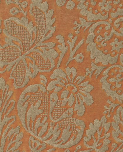 5490 SOLIMENA in silvery gold & peach Fortuny Printed Cottons