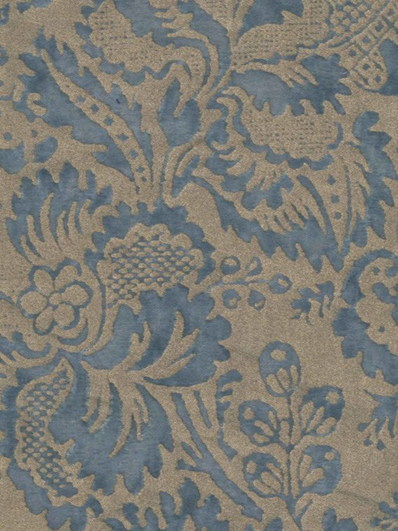 5633 SOLIMENA in slate blue & silvery gold Fortuny Printed Cottons