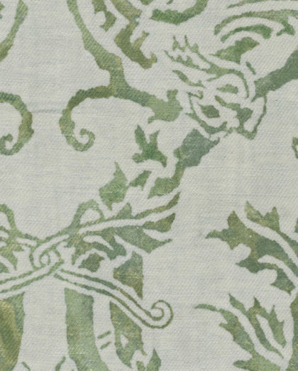 5057 SPAGNOLO in green & white texture Fortuny Printed Cottons