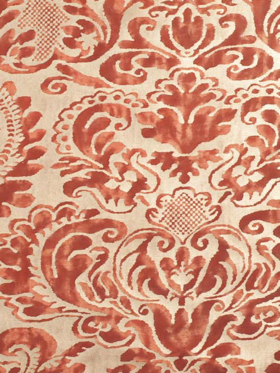 5642 SEVIGNE in deep burgundy & gold Fortuny Printed Cottons