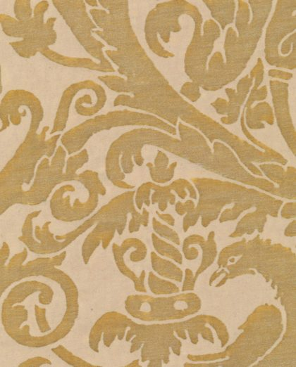 5279 UCCELLI in antique yellow monotones Fortuny Printed Cottons