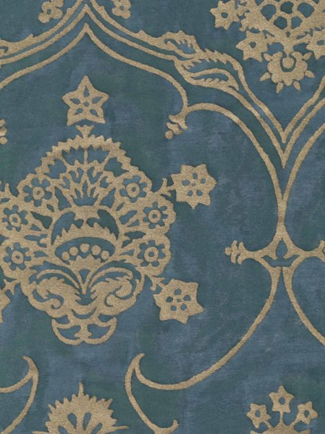 5566 VERONESE in blue & silvery gold Fortuny Printed Cottons