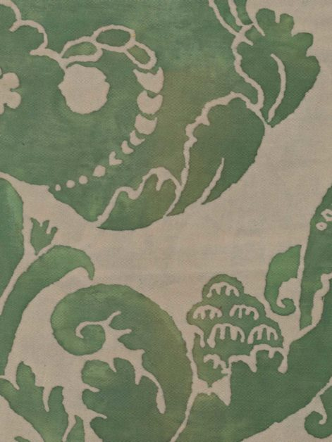 5281 VIVALDI in green & old ivory Fortuny Printed Cottons