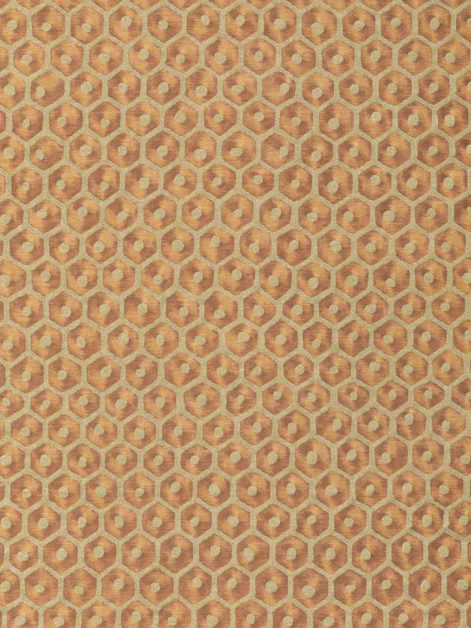 5831 FAVO in burnt sienna & gold, original Mariano Fortuny honeycomb motif