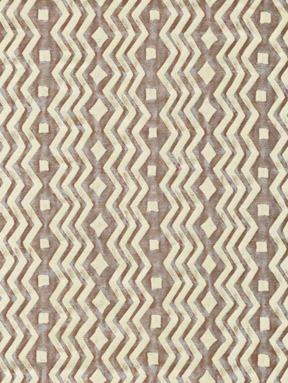 5841 ITZA in rust & blue on parchment Fortuny Printed Cottons