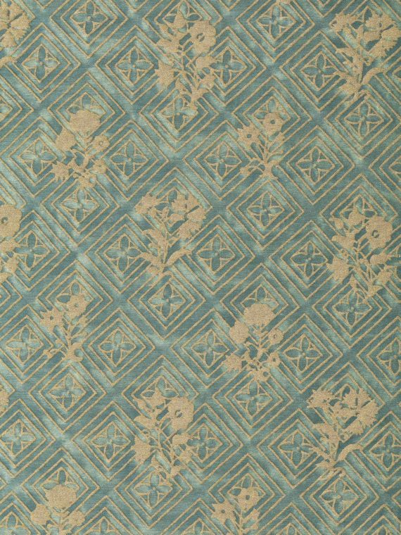 5862 JUPON BOUQUET in vintage blue-green & gold Fortuny Printed Cottons