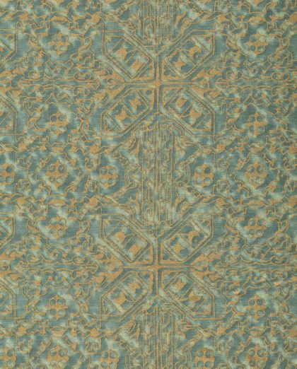 5871 MORESCO in vintage blue-green & gold Fortuny Printed Cottons