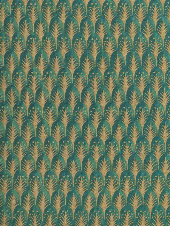 5880 PIUMETTE in emerald & gold Fortuny Printed Cottons