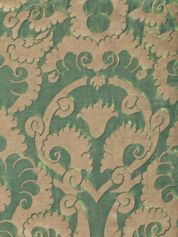 5890 LAOTZE in deep jade & gold Fortuny Printed Cottons