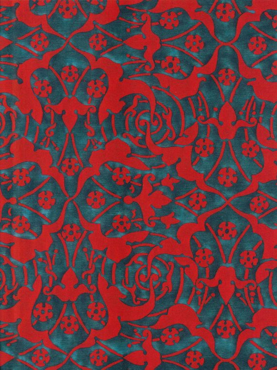 5921 ONEIROI in petrol & red Fortuny Printed Cottons
