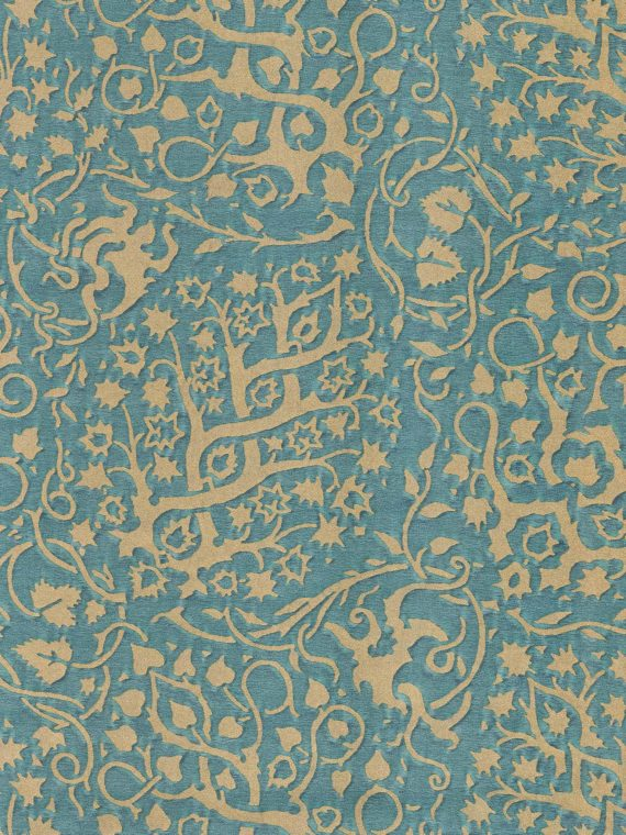5943 PIGNE in blue spruce & silvery gold Fortuny Printed Cottons