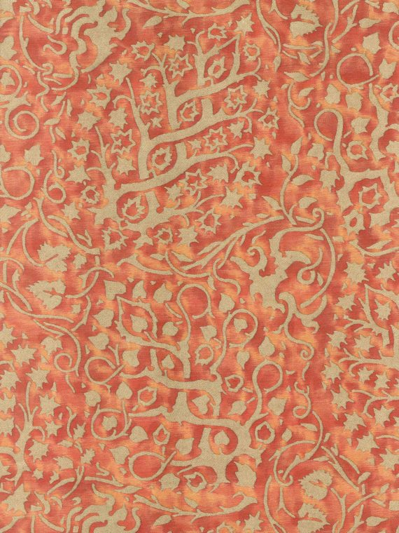 5944 PIGNE in burnt orange & silvery gold Fortuny Printed Cottons